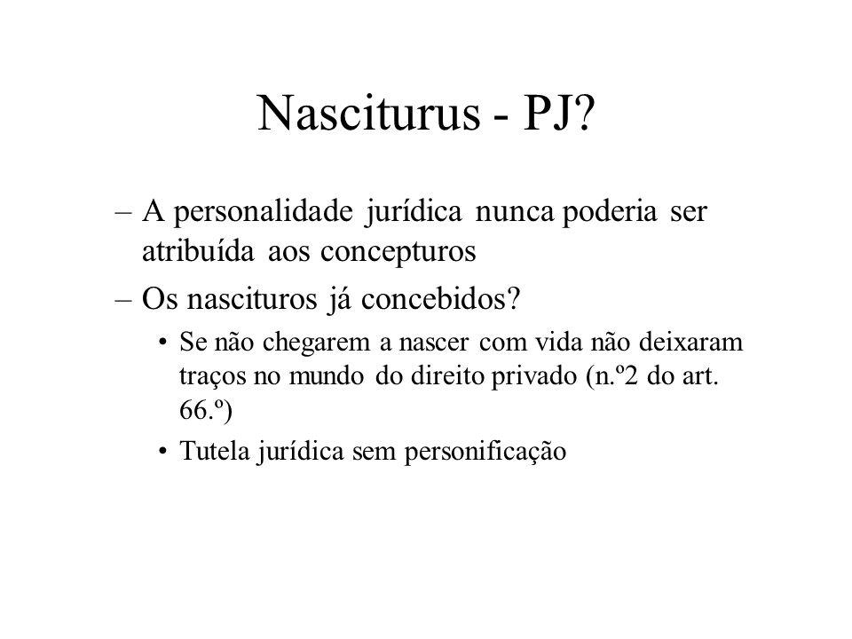 Nasciturus - PJ A personalidade jurídica nunca poderia ser atribuída aos concepturos. Os nascituros já concebidos
