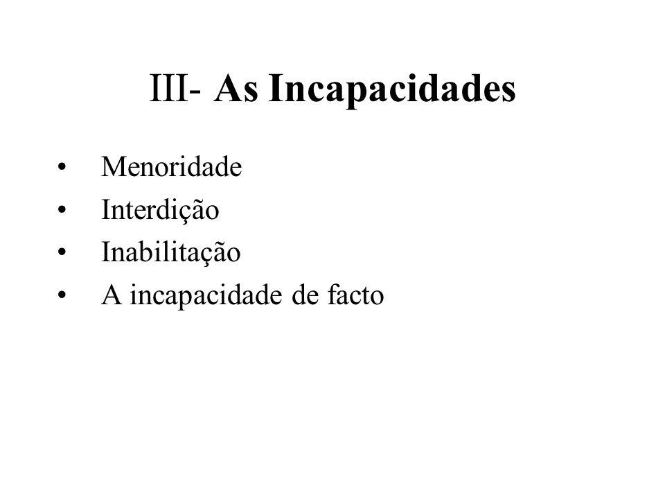 III- As Incapacidades Menoridade Interdição Inabilitação