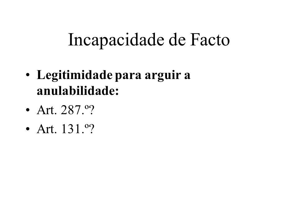 Incapacidade de Facto Legitimidade para arguir a anulabilidade: