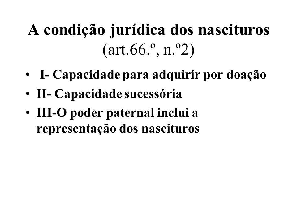 A condição jurídica dos nascituros (art.66.º, n.º2)