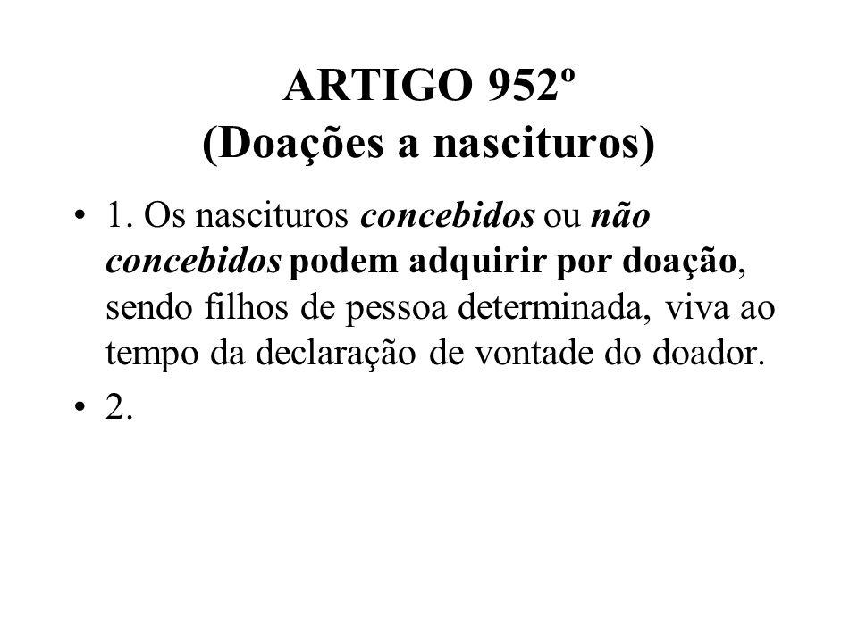 ARTIGO 952º (Doações a nascituros)