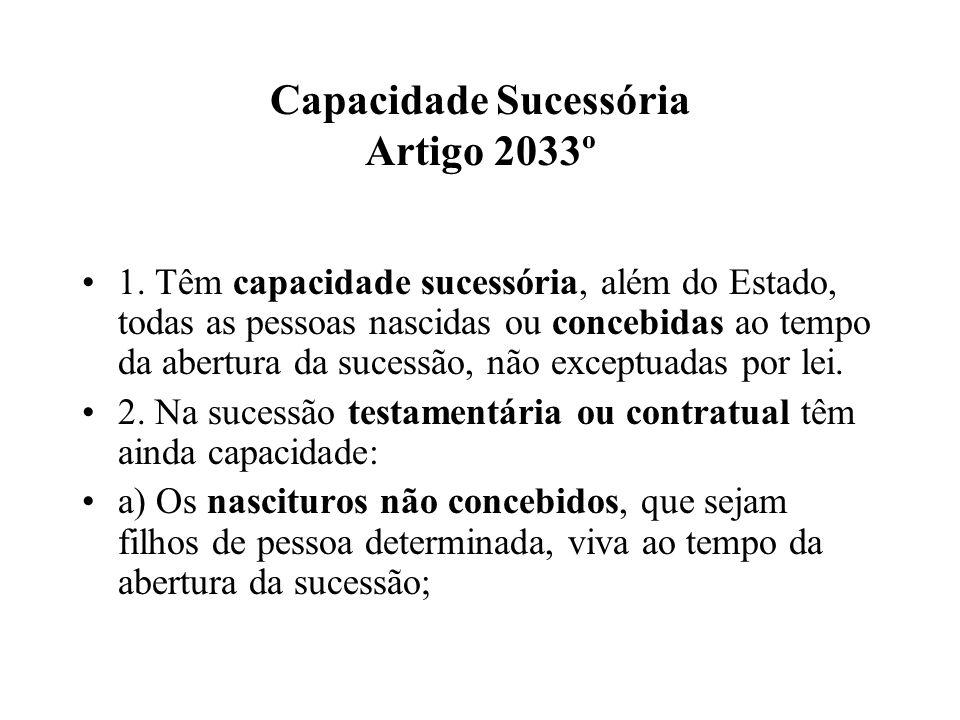 Capacidade Sucessória Artigo 2033º