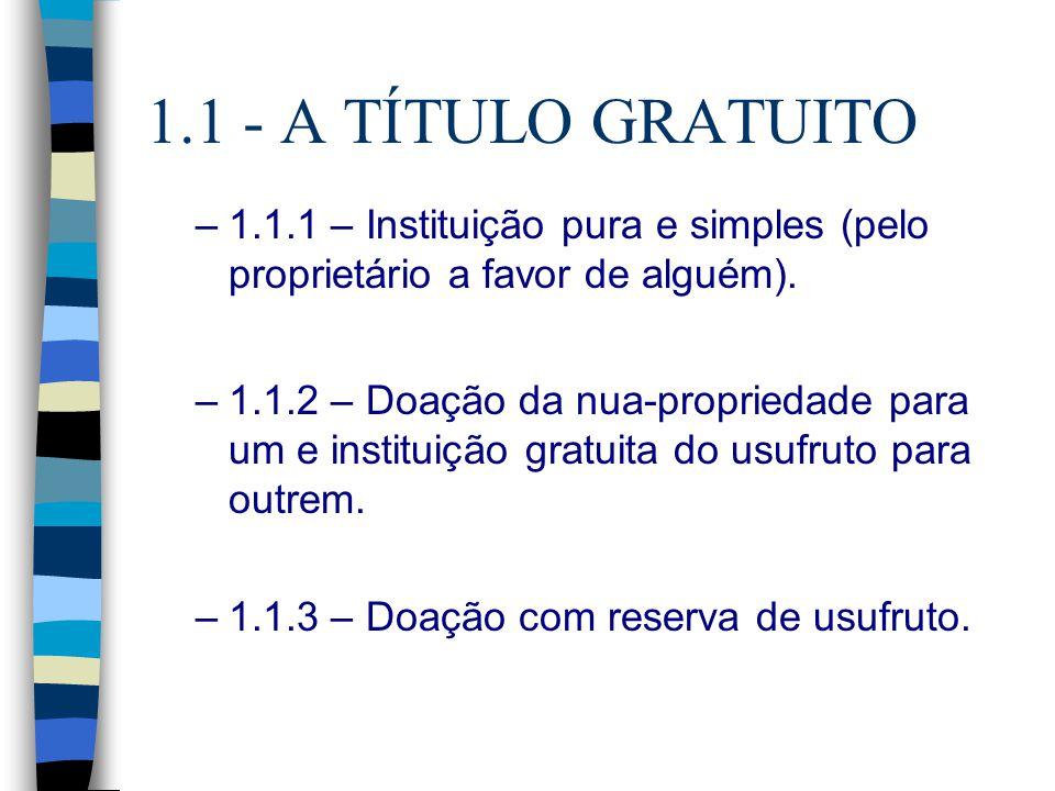 1.1 - A TÍTULO GRATUITO 1.1.1 – Instituição pura e simples (pelo proprietário a favor de alguém).