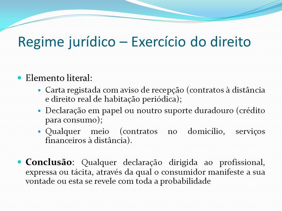 Regime jurídico – Exercício do direito