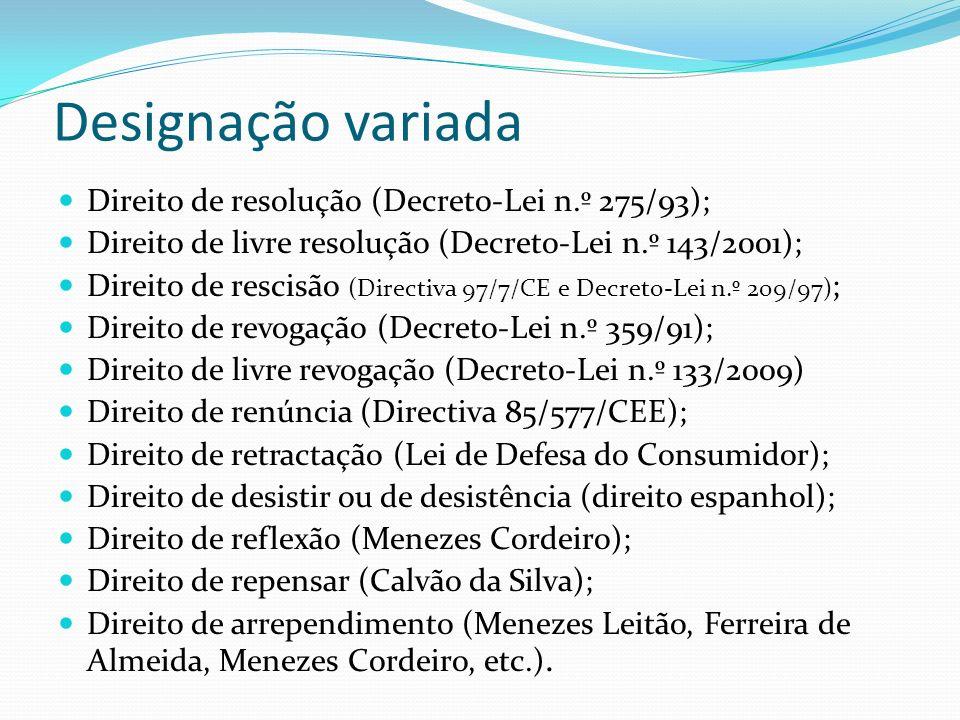 Designação variada Direito de resolução (Decreto-Lei n.º 275/93);