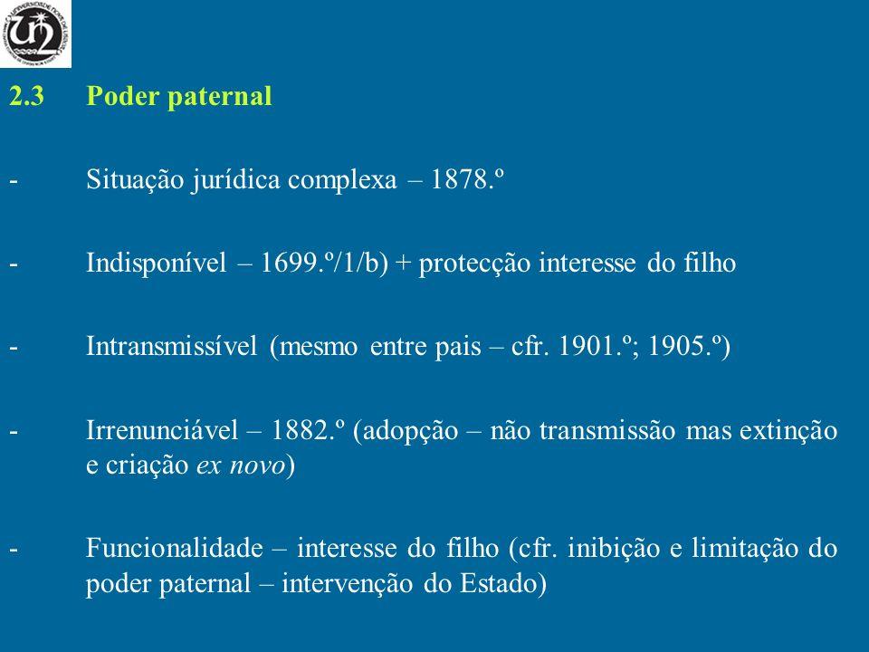 2.3 Poder paternalSituação jurídica complexa – 1878.º. Indisponível – 1699.º/1/b) + protecção interesse do filho.
