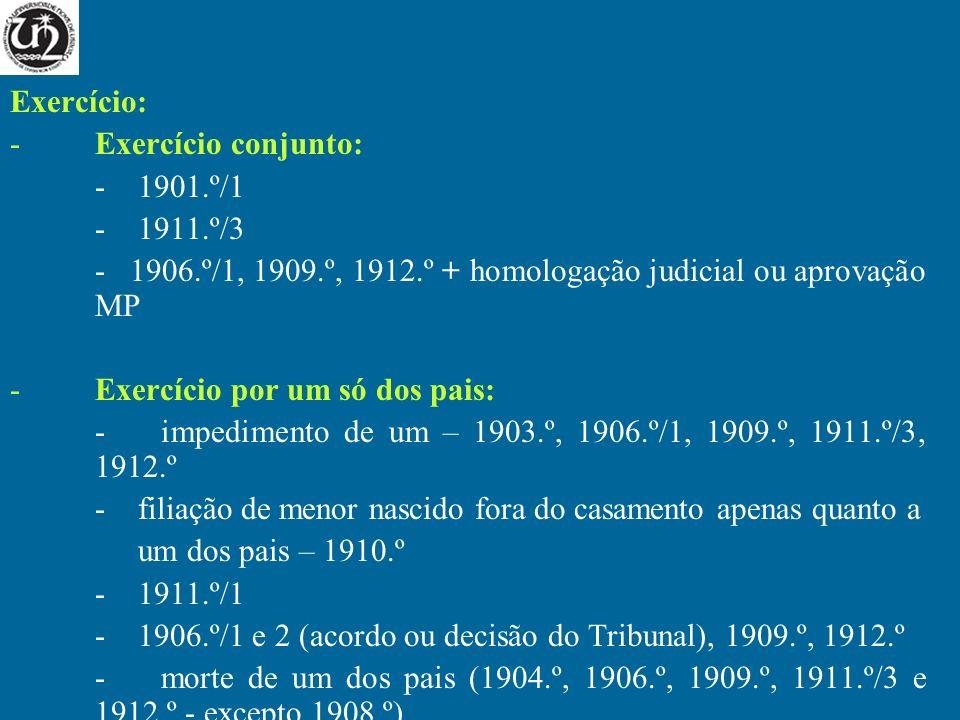 Exercício:Exercício conjunto: - 1901.º/1. - 1911.º/3. - 1906.º/1, 1909.º, 1912.º + homologação judicial ou aprovação MP.