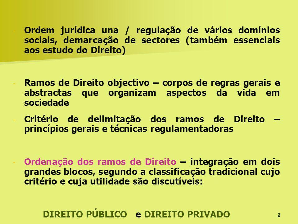 Ordem jurídica una / regulação de vários domínios sociais, demarcação de sectores (também essenciais aos estudo do Direito)