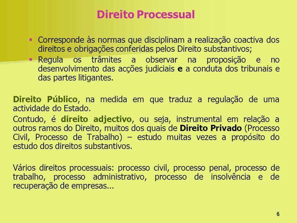 Direito Processual Corresponde às normas que disciplinam a realização coactiva dos direitos e obrigações conferidas pelos Direito substantivos;