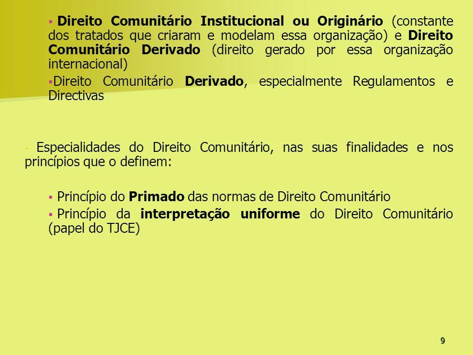 Direito Comunitário Institucional ou Originário (constante dos tratados que criaram e modelam essa organização) e Direito Comunitário Derivado (direito gerado por essa organização internacional)