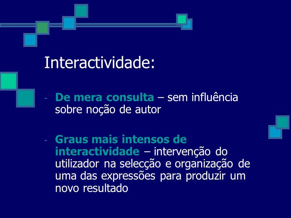 Interactividade: De mera consulta – sem influência sobre noção de autor.