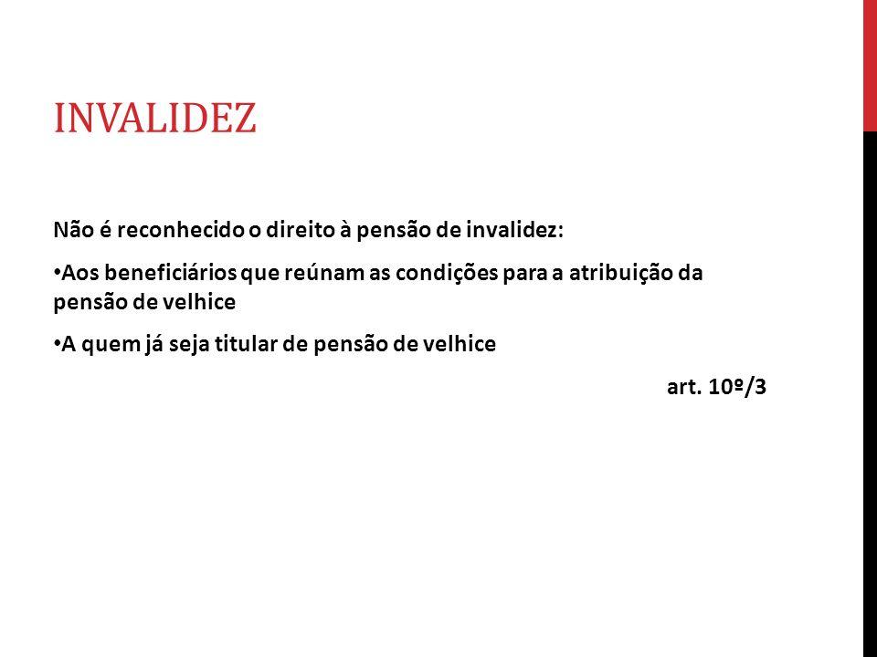 INVALIDEZ Não é reconhecido o direito à pensão de invalidez: