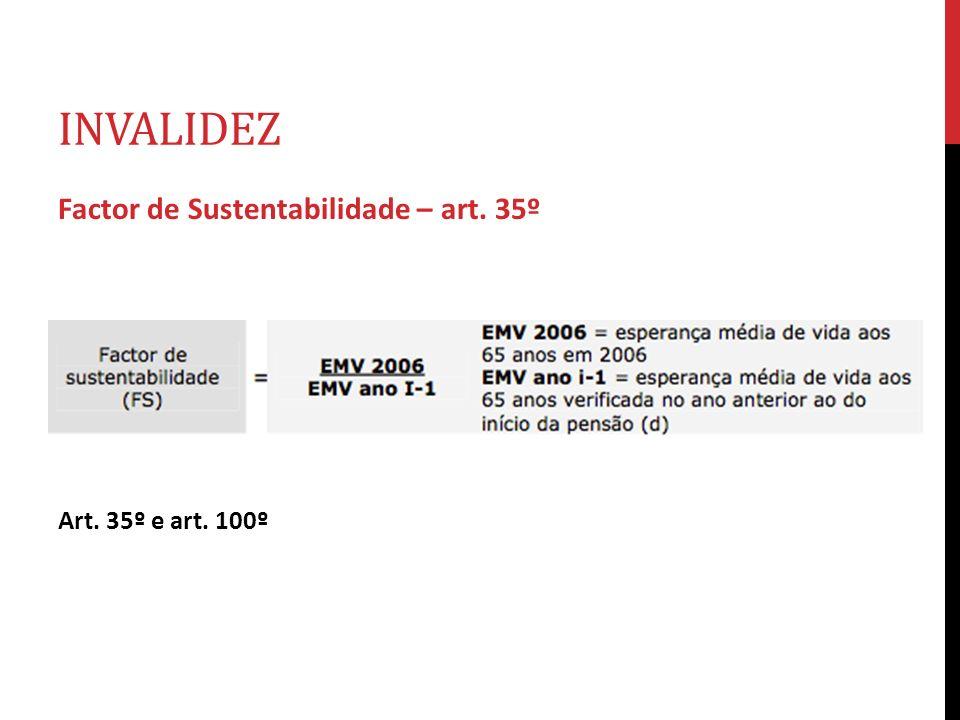 INVALIDEZ Factor de Sustentabilidade – art. 35º Art. 35º e art. 100º