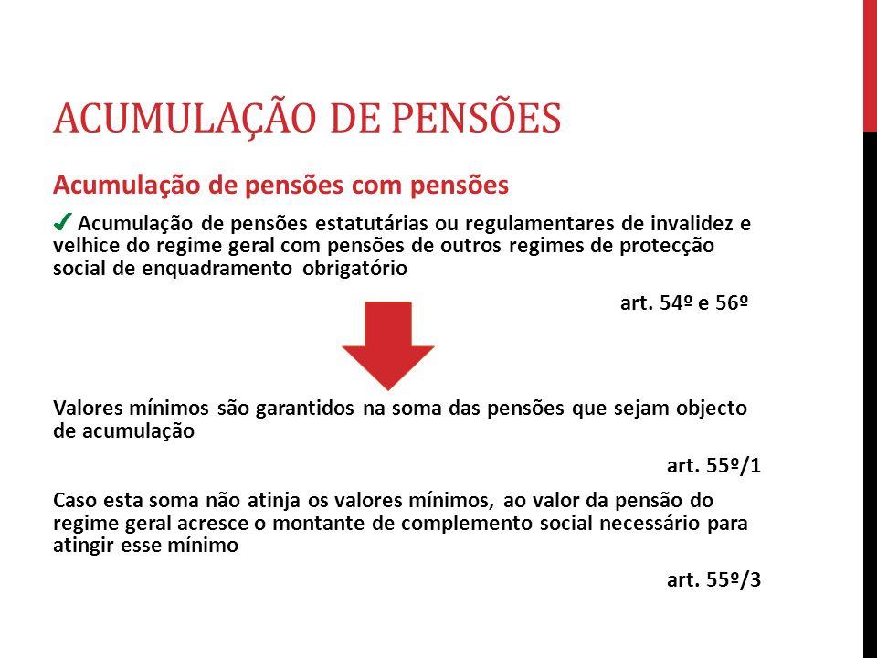 ACUMULAÇÃO DE PENSÕES Acumulação de pensões com pensões