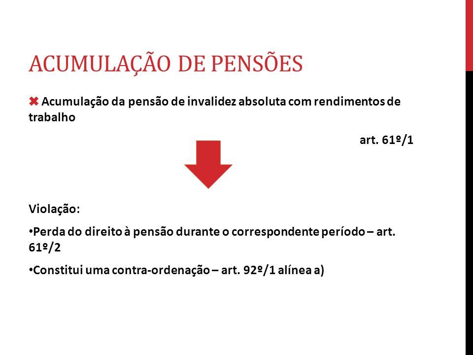 ACUMULAÇÃO DE PENSÕES ✖ Acumulação da pensão de invalidez absoluta com rendimentos de trabalho. art. 61º/1.