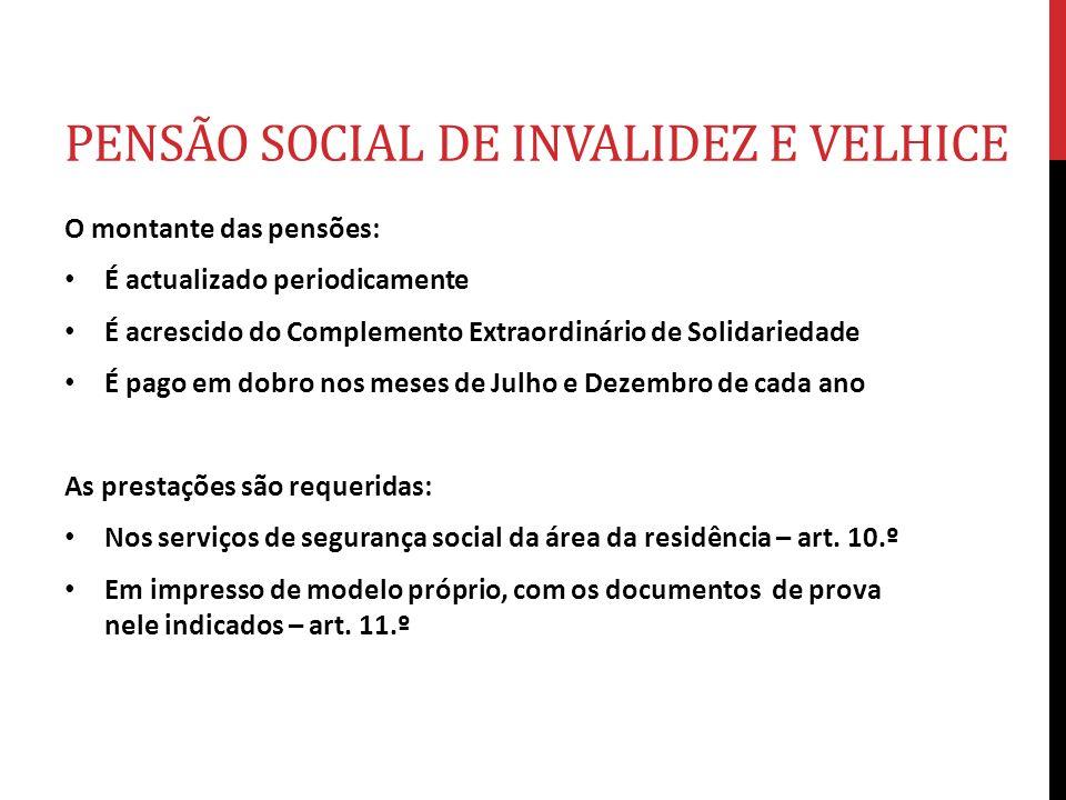 PENSÃO SOCIAL DE INVALIDEZ E VELHICE