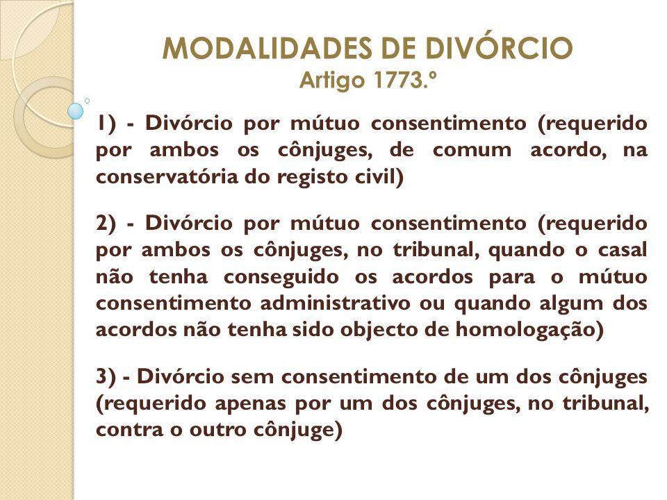 MODALIDADES DE DIVÓRCIO Artigo 1773.º