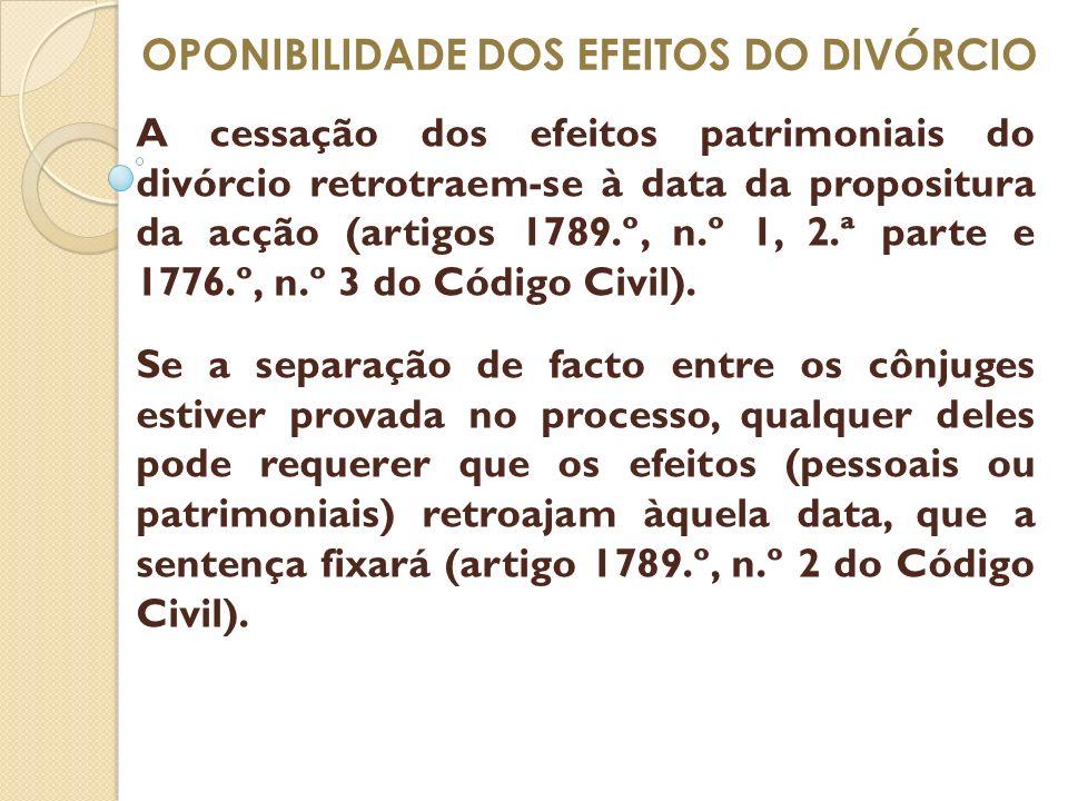 OPONIBILIDADE DOS EFEITOS DO DIVÓRCIO