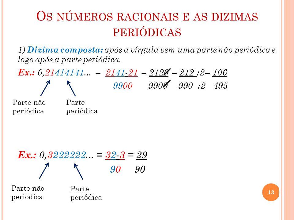 Os números racionais e as dizimas periódicas