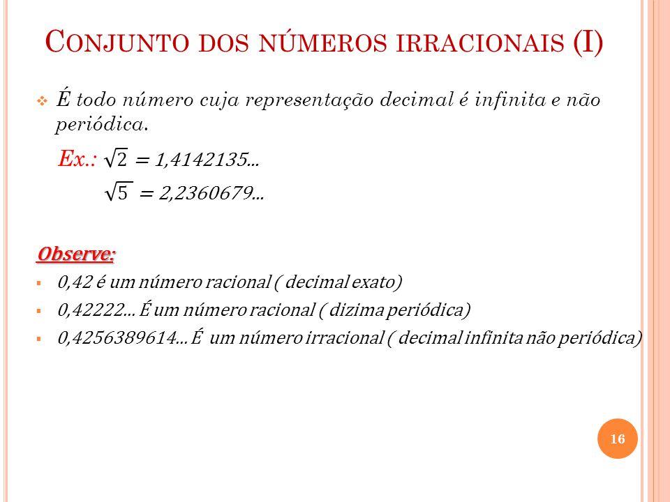 Conjunto dos números irracionais (I)