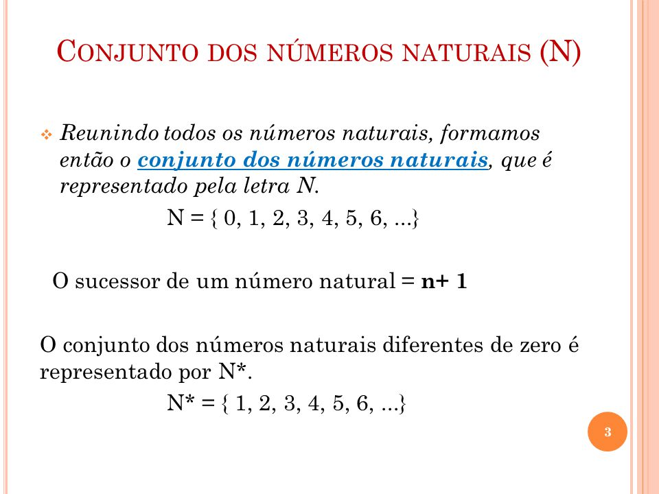 Conjunto dos números naturais (N)