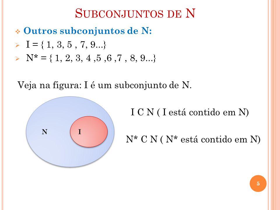 Subconjuntos de N Outros subconjuntos de N: I = { 1, 3, 5 , 7, 9...}