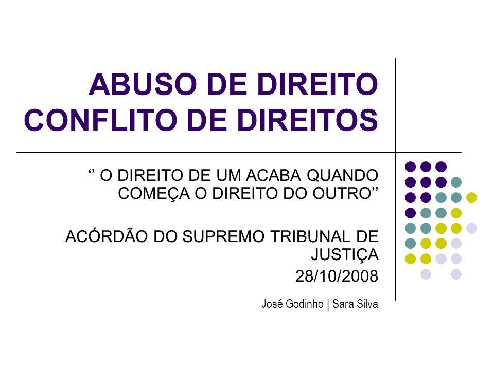 ABUSO DE DIREITO CONFLITO DE DIREITOS