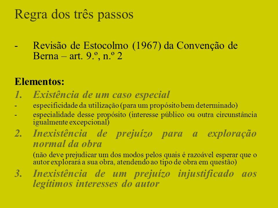 Regra dos três passos Revisão de Estocolmo (1967) da Convenção de Berna – art. 9.º, n.º 2. Elementos: