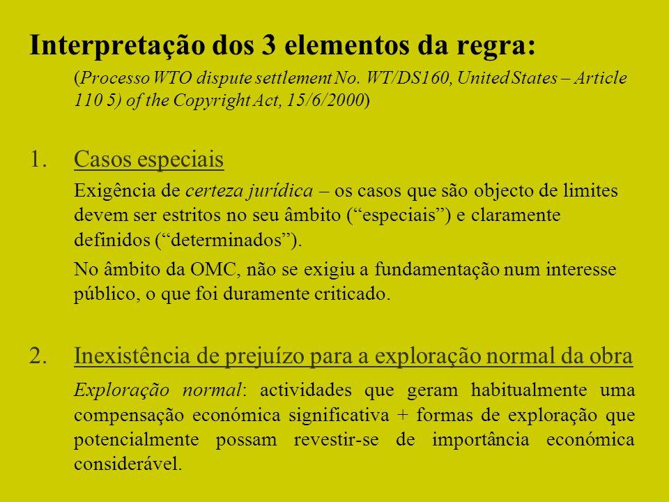 Interpretação dos 3 elementos da regra: