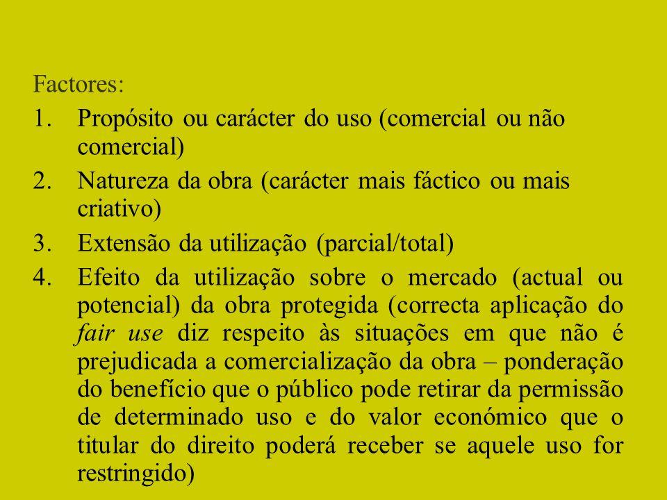 Factores: Propósito ou carácter do uso (comercial ou não comercial) Natureza da obra (carácter mais fáctico ou mais criativo)