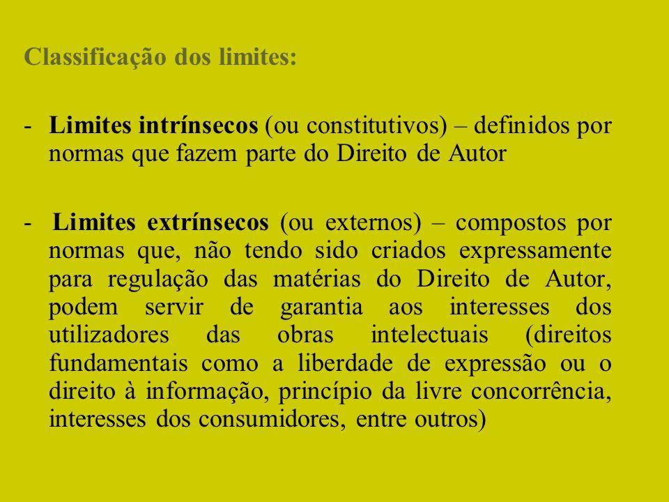 Classificação dos limites:
