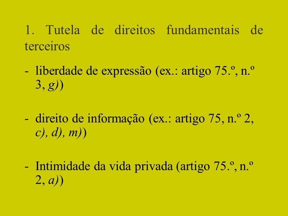 1. Tutela de direitos fundamentais de terceiros