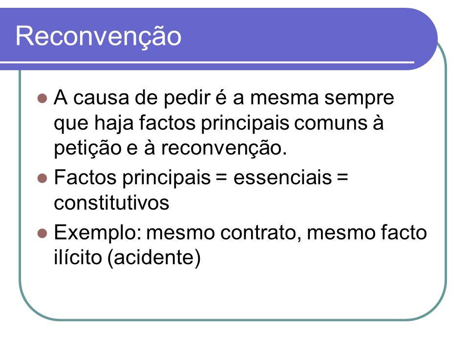 Reconvenção A causa de pedir é a mesma sempre que haja factos principais comuns à petição e à reconvenção.