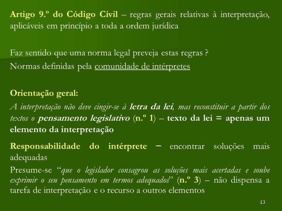 Artigo 9.º do Código Civil – regras gerais relativas à interpretação, aplicáveis em princípio a toda a ordem jurídica
