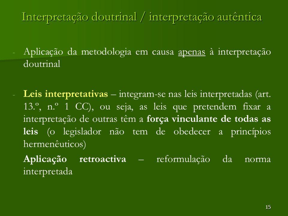 Interpretação doutrinal / interpretação autêntica