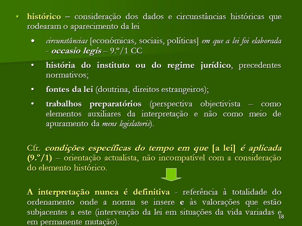 história do instituto ou do regime jurídico, precedentes normativos;
