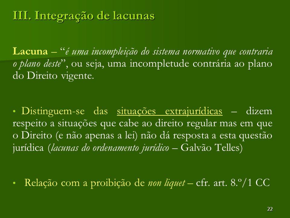 III. Integração de lacunas