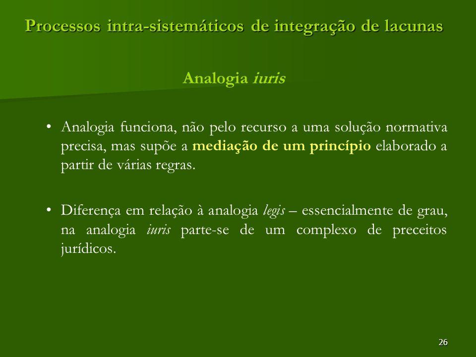 Processos intra-sistemáticos de integração de lacunas