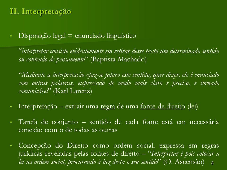II. Interpretação Disposição legal = enunciado linguístico