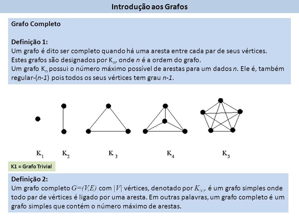Introdução aos Grafos Grafo Completo Definição 1: