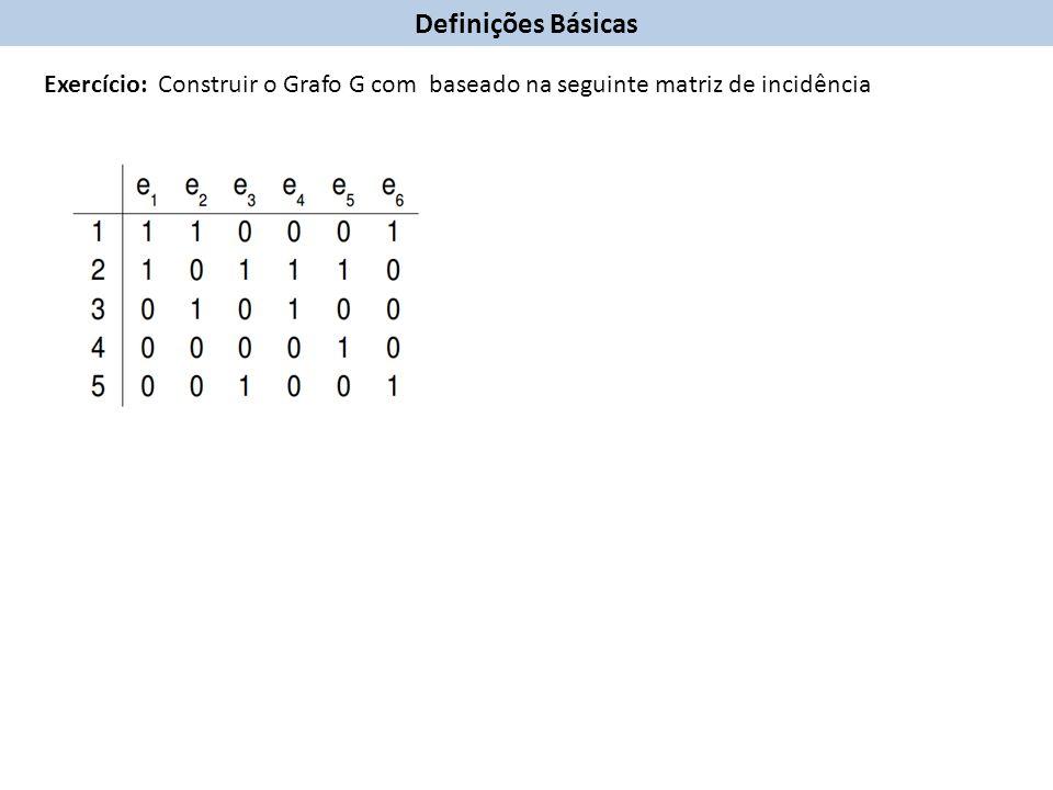 Definições Básicas Exercício: Construir o Grafo G com baseado na seguinte matriz de incidência