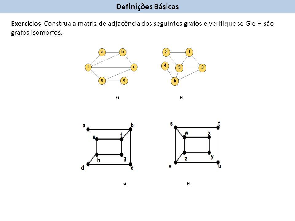 Definições Básicas Exercícios Construa a matriz de adjacência dos seguintes grafos e verifique se G e H são grafos isomorfos.