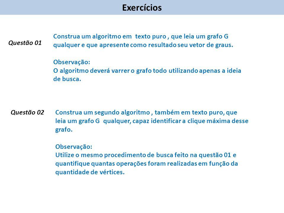 Exercícios Construa um algoritmo em texto puro , que leia um grafo G qualquer e que apresente como resultado seu vetor de graus.