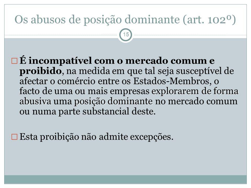 Os abusos de posição dominante (art. 102º)