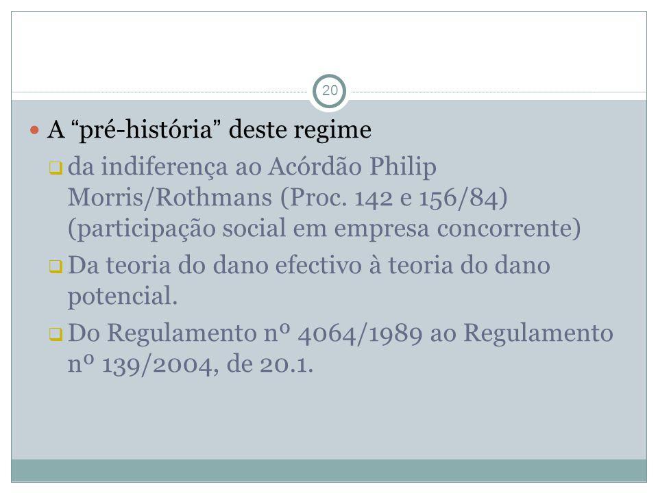 A pré-história deste regime