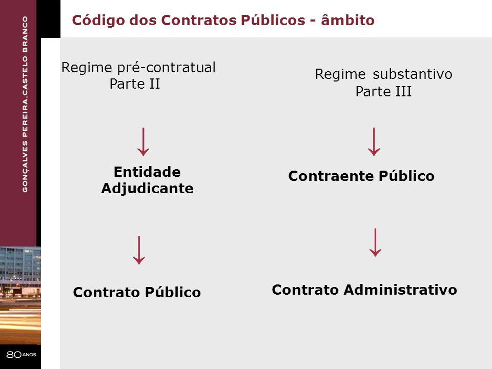 ↓ ↓ ↓ ↓ Código dos Contratos Públicos - âmbito Regime pré-contratual