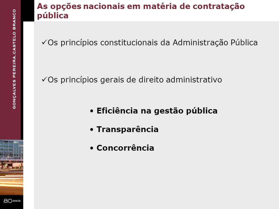 As opções nacionais em matéria de contratação pública