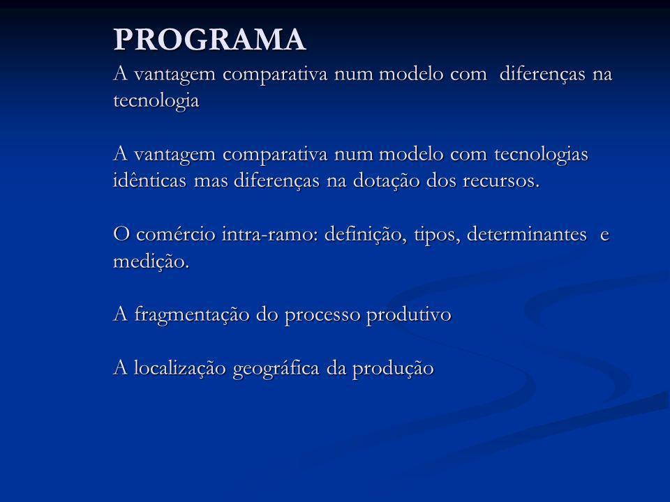 PROGRAMA A vantagem comparativa num modelo com diferenças na tecnologia A vantagem comparativa num modelo com tecnologias idênticas mas diferenças na dotação dos recursos.