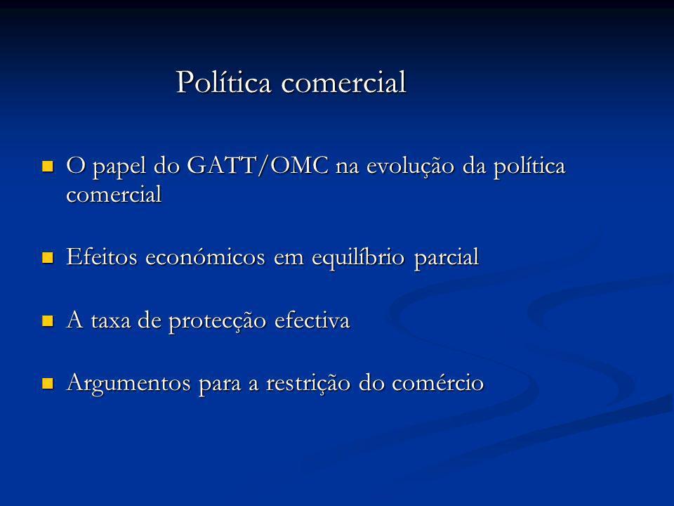 Política comercial O papel do GATT/OMC na evolução da política comercial. Efeitos económicos em equilíbrio parcial.