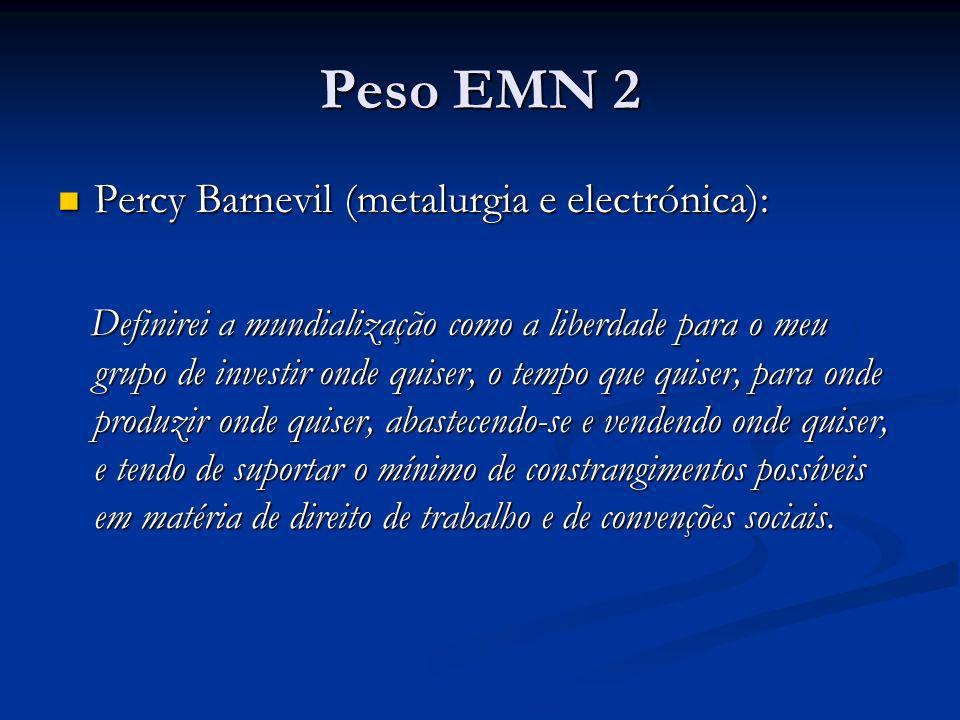 Peso EMN 2 Percy Barnevil (metalurgia e electrónica):